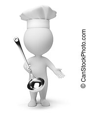 3d small people - cook with a ladle in hand. 3d image. ...