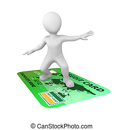 3d small people. Credit card.
