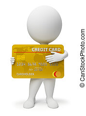 3d small people with a credit card in hands. 3d image. Isolated white background.