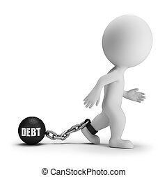 3d small people - debt - 3d small person with a load of debt...