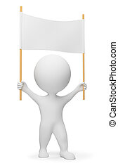 3d small people - demonstrator with a header in hands. 3d image. Isolated white background.