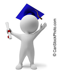 3d small people the received diploma. 3d image. Isolated white background.
