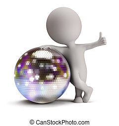 3d small person standing next to a disco ball and showing a positive gesture. 3d image. Isolated white background.