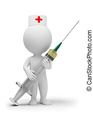 3d small people - doctor with a syringe. 3d image. Isolated white background.