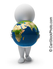 3d small people-Earth - 3d small people with a planet the...