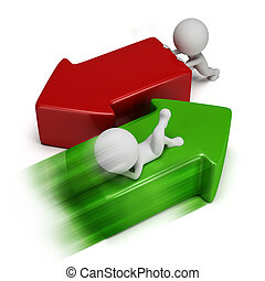 3d small people moving the red and green arrows. 3d image. Isolated white background.