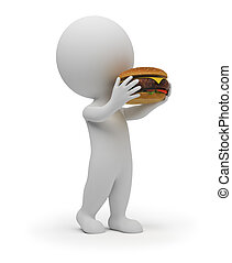 3d small people eats a hamburger
