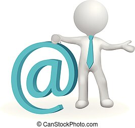 3d small people email address communication concept