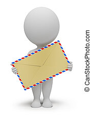 3d small people with an envelope in hands. 3d image. Isolated white background.