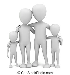3d small people - family.