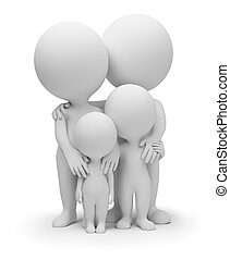 3d small people - parents with children. 3d image. Isolated white background.