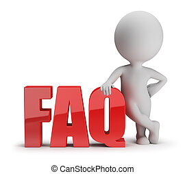 3d small person standing next to FAQ. 3d image. White background.