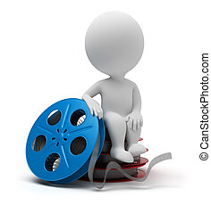 3d small people - film reel - 3d small people sitting on...