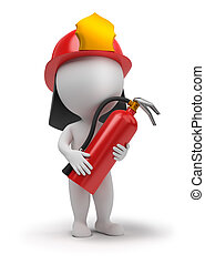 3d small people - fireman with the fire extinguisher and in...