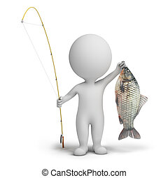 3d small people - fisherman with a fishing tackle and fish....