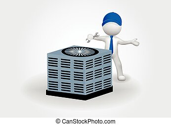 3d Small People fixing an air conditioning