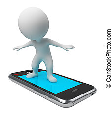 3d small people flying on a mobile phone. 3d image. Isolated white background.