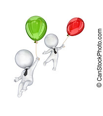 3d small people flying with an air balloons.