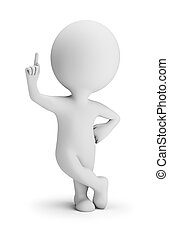 3d small person in a confident pose with a raised finger. 3d image. White background.