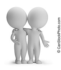 3d small person - two friends are hugging. 3d image. Isolated white background.