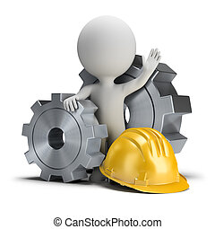 3d small people - gears and helmet - 3d small person...