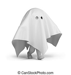 3d small person in a ghost costume. 3d image. Isolated white background.
