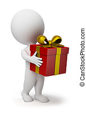 3d small person bears a red box-gift with a gold bow. 3d image. Isolated white background.