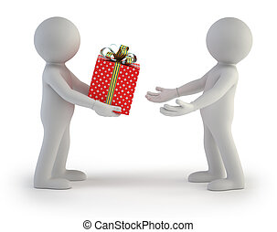 3d small people - gift box