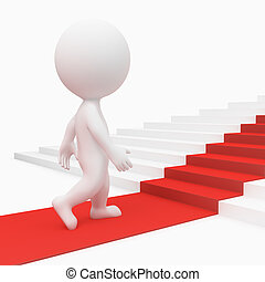 3d small people going on a red path upwards on steps. 3d image. Isolated white background.