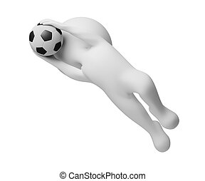 3d small people - goalkeeper a catching ball. 3d image....