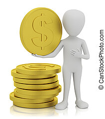 3d small people - gold coins.