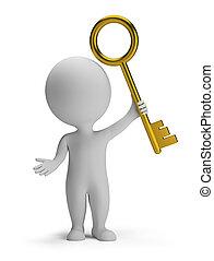3d small people - golden key - 3d small man holding a golden...