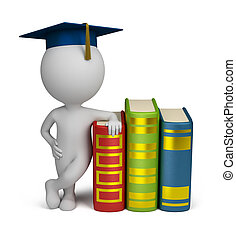3d small people - graduate and books - 3d small person...