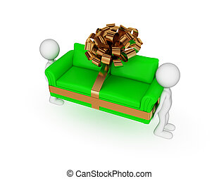 3d small people, green sofa with golden bow.
