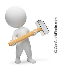 3d small people - hammer - 3d small people with a hammer in...