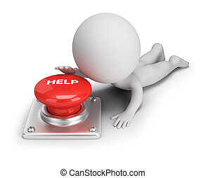 3d small people - help button - 3d small person reaches for...