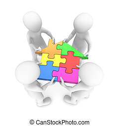 3d small people holding house puzzle
