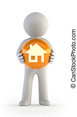 3d small people - house icon