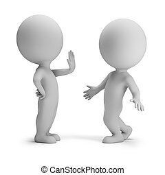 3d small people in stopping pose. 3d image. White background.
