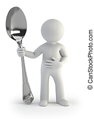 3d small people - i am hungry - a hungry man holds a spoon