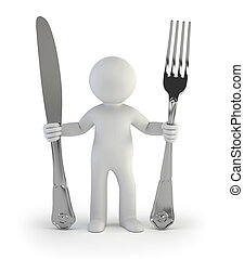 3d small people - i am hungry - a little man holds a knife...