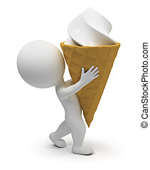 3d small people - ice-cream - 3d small people bearing the...