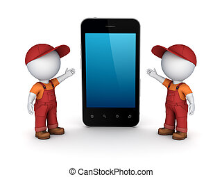 3d small people in workwear and cellphone.