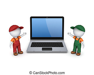 3d small people in workwear and notebook.