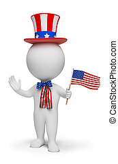 3d small people - Independence Day. 3d image. Isolated white background.