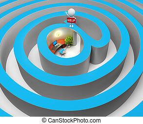3d small people - internet a labyrinth
