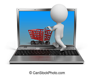 3d small person with a cart penetrating the laptop screen. 3d image. Isolated white background.