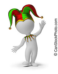 3d small people - dancing jester in a cap. 3d image. Isolated white background.