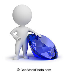 3d small people with a jewel. 3d image. Isolated white background.