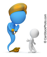 3d small people and the jinn appeared from a magic lamp. 3d image. Isolated white background.